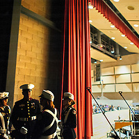 121413  Adron Gardner/Independent<br /> <br /> The Grants High School Marine Corps ROTC color guard gathers backstage before the opening of the Performing Arts Center in Grants Saturday.
