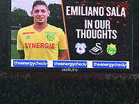 Football - 2018 / 2019 Emirates FA Cup - Fourth Round: Swansea City vs. Gillingham<br /> <br /> Tribute to Emiliano Sala on the big screen , at Liberty Stadium.<br /> <br /> COLORSPORT/WINSTON BYNORTH
