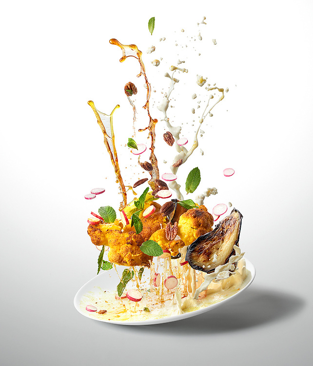 Roasted Cauli And Ricotta <br /> - Ten-A-Day is series created for Men's Health magazine promoting healthy recipes. The levitating images shot dynamic approach to food phoography.