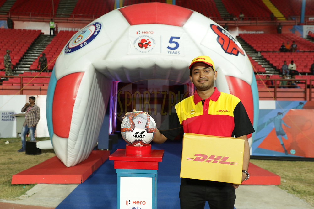 DHL delivery man deliver the match ball during match 25 of the Hero Indian Super League 2018 ( ISL ) between Jamshedpur FC and FC Goa held at JRD Tata Sports Complex, Jamshedpur, India on the 1st November  2018<br /> <br /> Photo by Saikat Das /SPORTZPICS for ISL