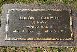 31 August 2017:   Veterans graves in Park Hill Cemetery in eastern McLean County.<br /> <br /> Adron J Carwile US Navy World War II Aug 4 1922 Aug 5 2011