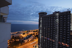 June 13, 2018 - Batumi, Georgia - Buildings line the shore of the Black Sea as seen at night in Batumi, Georgia, June 13, 2018. Ukrinform. (Credit Image: © Vyacheslav Madiyevskyy/Ukrinform via ZUMA Wire)
