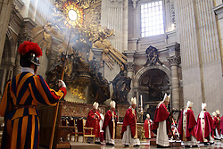 Apr 24, 2017 - Vatican City State (Holy See) - Cardinals of Roman Curia  and POPE FRANCIS during the funeral service of Cardinal Attilio Nicora in St. Peter's Basilica a t the Vatican. (Credit Image: © Evandro Inetti via ZUMA Wire)