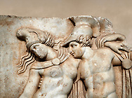 Close up of a Roman Sebasteion relief sculpture of Achilles and a dying Amazon, Aphrodisias Museum, Aphrodisias, Turkey.    Against an art background.<br /> <br /> Achilles supports the dying Amazon queen Penthesilea whom he has mortally wounded. Her double headed axe slips from her hands. The queen had come to fight against the Greeks in the Trojan war and Achilles fell in love with her. .<br /> <br /> If you prefer to buy from our ALAMY STOCK LIBRARY page at https://www.alamy.com/portfolio/paul-williams-funkystock/greco-roman-sculptures.html . Type -    Aphrodisias     - into LOWER SEARCH WITHIN GALLERY box - Refine search by adding a subject, place, background colour, museum etc.<br /> <br /> Visit our ROMAN WORLD PHOTO COLLECTIONS for more photos to download or buy as wall art prints https://funkystock.photoshelter.com/gallery-collection/The-Romans-Art-Artefacts-Antiquities-Historic-Sites-Pictures-Images/C0000r2uLJJo9_s0