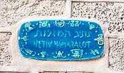 Israel, Jaffa, Ceramic signs of the Zodiac street sign