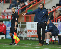 Exeter City's Manager Matt Taylor shouts instructions to his team from the dug-out <br /> <br /> Photographer Kevin Barnes/CameraSport<br /> <br /> Emirates FA Cup First Round - Exeter City v Blackpool - Saturday 10th November 2018 - St James Park - Exeter<br />  <br /> World Copyright © 2018 CameraSport. All rights reserved. 43 Linden Ave. Countesthorpe. Leicester. England. LE8 5PG - Tel: +44 (0) 116 277 4147 - admin@camerasport.com - www.camerasport.com
