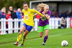 Katie Robinson of Bristol City Women is challenged by Marisa Ewers of Birmingham City Women - Mandatory by-line: Ryan Hiscott/JMP - 14/10/2018 - FOOTBALL - Stoke Gifford Stadium - Bristol, England - Bristol City Women v Birmingham City Women - FA Women's Super League 1