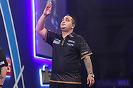 Jeffrey de Zwaan wins his third round match against Dave Chisnall and celebrates during the PDC William Hill World Darts Championship at Alexandra Palace, London, United Kingdom on 23 December 2019.