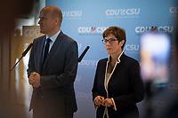 DEU, Deutschland, Germany, Berlin, 24.07.2019: Der CDU/CSU-Fraktionsvorsitzende Ralph Brinkhaus und CDU-Chefin und Bundesverteidigungsministerin Annegret Kramp-Karrenbauer bei einem Pressestatement vor der Fraktionssitzung der CDU/CSU.