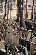 Prague, Czech Republic. Old Jewish cemetery in Josefov, the former Jewish ghetto. This cemetery was used from 1439 to 1787 and it is the oldest existing Jewish cemetery in Europe.