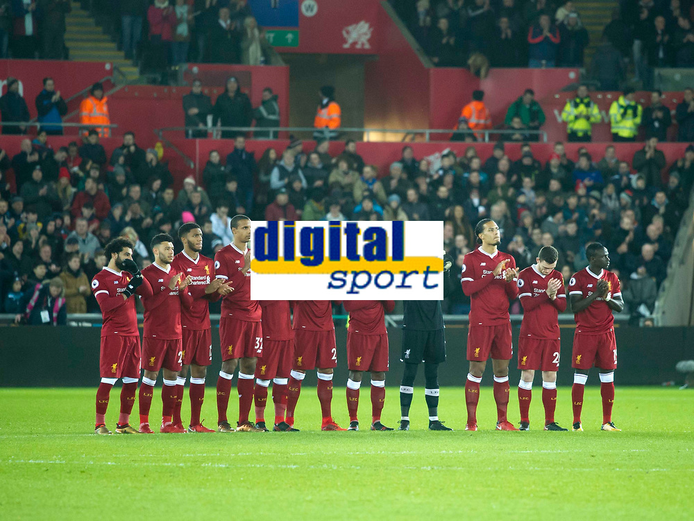 Football - 2017 / 2018 Premier League - Swansea City vs. Liverpool<br /> <br /> Liverpool team line up for minutes applause, at The Liberty Stadium.<br /> <br /> COLORSPORT/WINSTON BYNORTH
