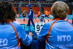 Gijs van Solkema of Netherlands in action during the CEV Eurovolley 2021 Qualifiers between Sweden and Netherlands at Topsporthall Omnisport on May 14, 2021 in Apeldoorn, Netherlands