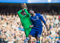 Football - 2016 / 2017 Premier League - Chelsea vs. WBA<br /> <br /> Diego Costa of Chelsea pressures Ben Foster of West Bromwich Albion to the high ball  at Stamford Bridge.<br /> <br /> COLORSPORT/DANIEL BEARHAM