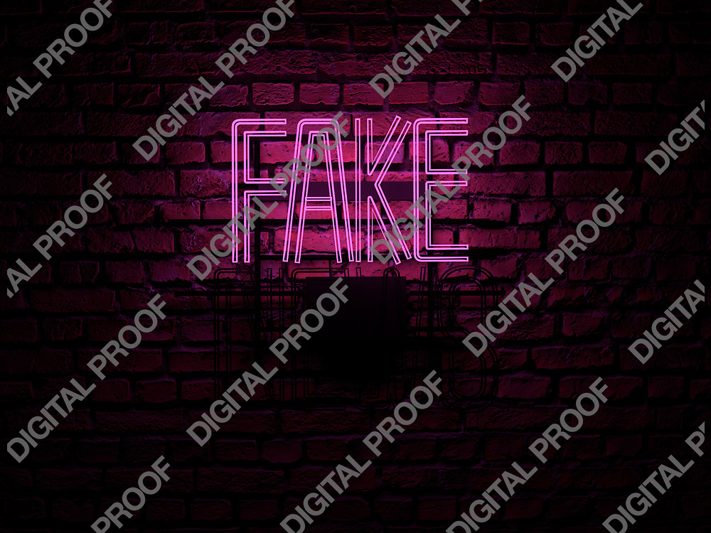 Fake News Neon Sign pink color fake on news off over a red brick wall at dark - Illustration Computer Rendered - Illustration