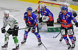 17.09.2021, Tiroler Wasserkraft Arena, Innsbruck, AUT, ICE, HC TWK Innsbruck Die Haie vs HK SZ Olimpija, Grunddurchgang, 1. Runde, im Bild v.l. Antonin Boruta (HC TIWAG Innsbruck), Tom McCollum (HC TIWAG Innsbruck), Jan Lattner (HC TIWAG Innsbruck) // during the bet-at-home ICE Hockey League Basic round 1th round match between HC TWK Innsbruck Die Haie and HK SZ Olimpija at the Tiroler Wasserkraft Arena in Innsbruck, Austria on 2021/09/17. EXPA Pictures © 2021, PhotoCredit: EXPA/ Erich Spiess