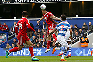 Birmingham City forward Lukas Jutkiewicz (10) heads the ball on to Birmingham City forward Che Adams (14) during the EFL Sky Bet Championship match between Queens Park Rangers and Birmingham City at the Loftus Road Stadium, London, England on 28 April 2018. Picture by Andy Walter.