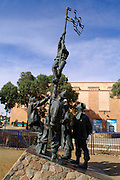 A metal statue commemorating the liberation of Eilat in 1948 by the Israeli Army, Eilat, pop. 55,000, is Israel's southernmost city in the Southern District of Israel. Adjacent to the Egyptian city of Taba and Jordanian port city of Aqaba, Eilat is located at the northern tip of the Gulf of Aqaba, which is the eastern sleeve of the Red Sea.
