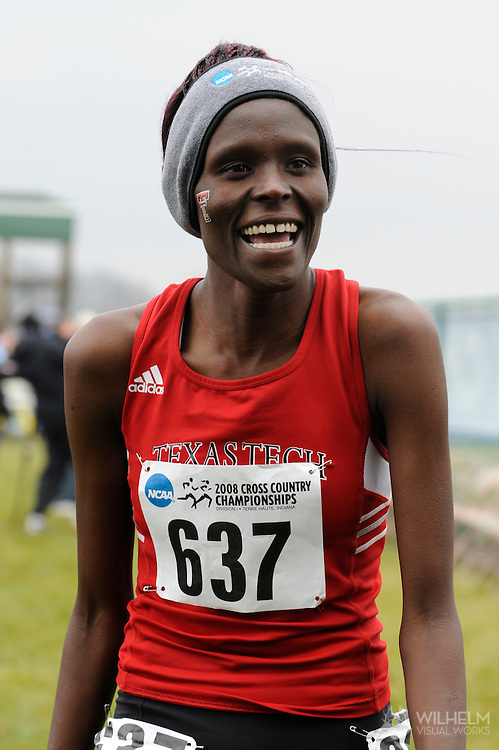 24 NOV 2008:  Sally Kipyego (637) of Texas Tech University laughs after her 1st place finish following the 2008 NCAA Women's Division I Cross Country Championship hosted by Indiana State University held at the Wabash Valley Family Sports Center in Terre Haute, IN. Kipyego placed 1st with a time of 19:28.1 to win the women's national title, while the University of Washington won the women's team title. © Brett Wilhelm