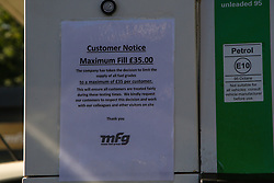 © Licensed to London News Pictures. 03/10/2021. London, UK. 'Customer Notice - Maximum Fill £35.00' sign on a pump at a BP petrol station in north London as the fuel crisis continues. From tomorrow (4 October) military personnel, including 100 drivers, will start fuel deliveries. Photo credit: Dinendra Haria/LNP