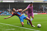Rochdale defender Harrison McGahey (6) pushes Scunthorpe United midfielder Josh Morris (11) during the EFL Sky Bet League 1 match between Scunthorpe United and Rochdale at Glanford Park, Scunthorpe, England on 8 September 2018. Photo Ian Lyall