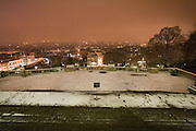 CLIMATE CHANGE. Snow, Arctic temperatures and big freeze in Paris, France. View across Paris at night from the Sacre-Coeur, during a night of heavy snowfall. Temperatures plummeted below zero, as low as -9. Very rarely, certainly not for decades, that Paris has experienced such freezing cold weather. Snow normally disappears in a couple of hours, this time it stuck around for days. Freak weather conditions and climate change can often be attributed to global warming and the ozone layer.