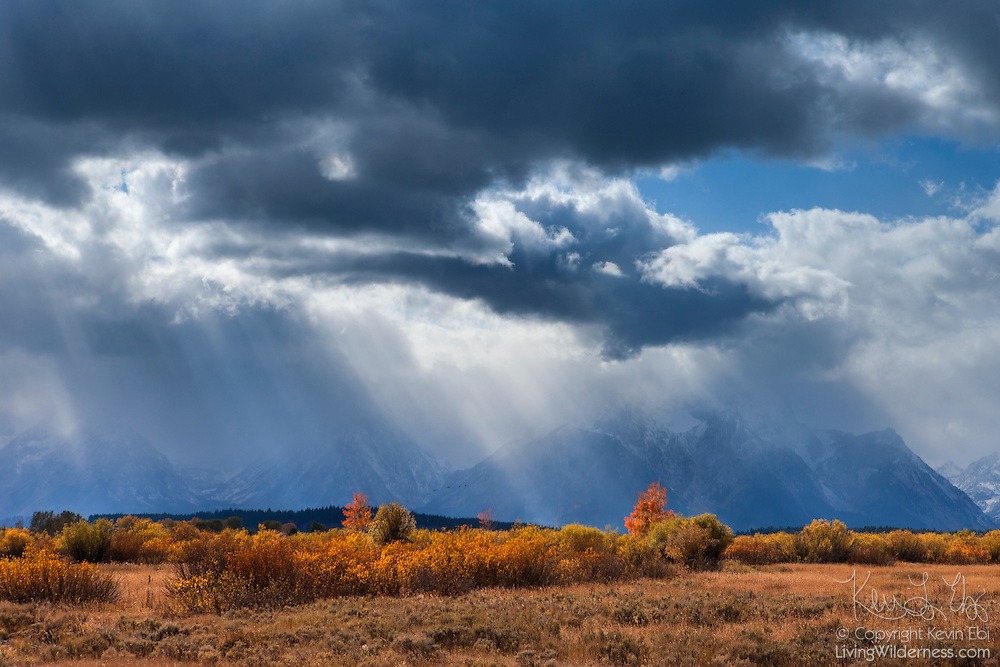 Afternoon storm clouds tower over Mount Moran and other peaks in Grand Teton National Park, Wyoming.