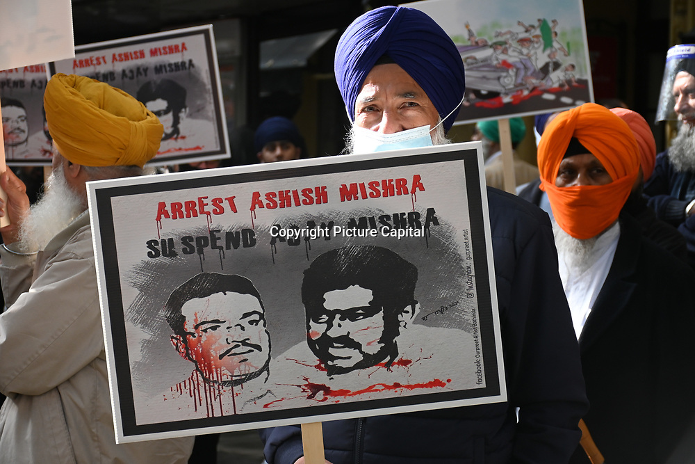 India Embassy, London, UK. 16 October 2021. Protest of BJP has murdered farmers in broad daylight in Lakhimpur Kheri. They call this the continuing genocide of Sikhs people in India to date and the 1984 massacre at Golden Temple, India. The Sikh are calling an independent Khalistan.