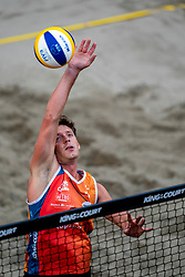 Dirk Boehlé in action during the second day of the beach volleyball event King of the Court at Jaarbeursplein on September 10, 2020 in Utrecht.