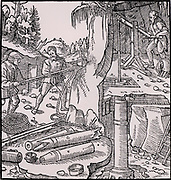 Draining a mine by means of a suction pump.  The man in the top right of the picture is operating the piston of the pump by raising and lowering the opposite end of the beam to which the piston rod is attached. From 'De re metallica', by Agricola, pseudonym of Georg Bauer (Basle, 1556).  Woodcut.