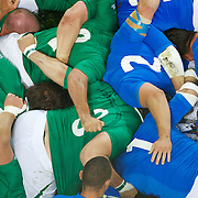 The Irish and Italian players pack down in the scrum during the Ireland V Italy Pool C match during the IRB Rugby World Cup tournament. Otago Stadium, Dunedin, New Zealand, 2nd October 2011. Photo Tim Clayton...