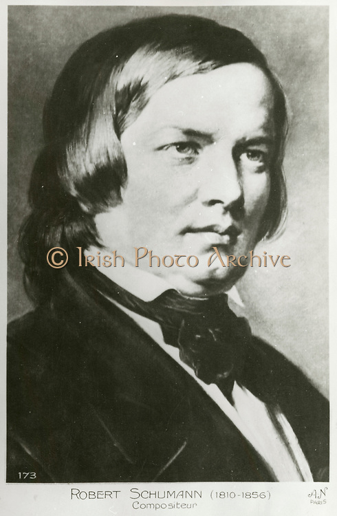 'Robert Schumann (1810-1856)c1850, German pianist and composer of the Romantic era. He married the pianist Clara Wieck in 1840. Engraving.'