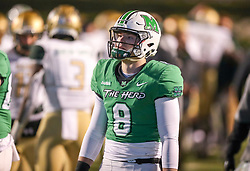 Dec 18, 2020; Huntington, West Virginia, USA; Marshall Thundering Herd quarterback Grant Wells (8) walks off the field after being defeated by the UAB Blazers at Joan C. Edwards Stadium. Mandatory Credit: Ben Queen-USA TODAY Sports