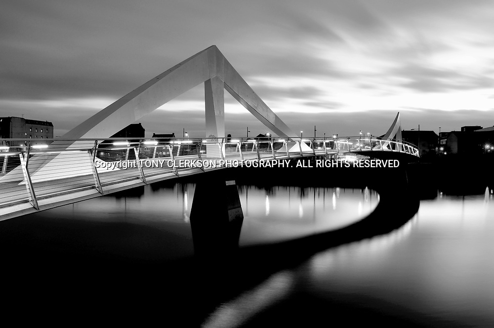 Dusk falls over the River Clyde, Glasgow.