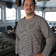 Raphael, chief mate. Photographed on the bridge after end patrol in the North Sea.