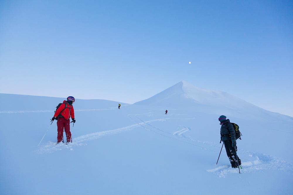Michelle Blade (left) and Kiya Riverman (right) wait for Nate Stevens (inner left) and Anouk Vlug at dusk below Hallwylfjellet, Svalbard.