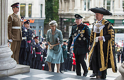 © London News Pictures. 18/06/2015. London, UK. The Duke and Duchess of Gloucester arrive at a service of commemoration at St Paul's Cathedral to mark the 200th Anniversary of the Battle of Waterloo, accompanied by the Lord Mayor of London.  Photo credit: Sergeant Rupert Frere/LNP