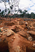 Gold mining pits dug in previous rainforest habitat,  Andranotsimaty village, Madagascar. This mining encroaches on last remaining refuge of golden crowned sifakas, an endangered endemic primate.