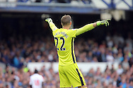 Everton Goalkeeper Maarten Stekelenburg directs his defence. Premier league match, Everton v Stoke city at Goodison Park in Liverpool, Merseyside on Saturday 27th August 2016.<br /> pic by Chris Stading, Andrew Orchard sports photography.
