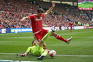 Middlesbrough defender George Friend (3)  and Brighton striker, Tomer Hemed (10)  during the Sky Bet Championship match between Middlesbrough and Brighton and Hove Albion at the Riverside Stadium, Middlesbrough, England on 7 May 2016. Photo by Simon Davies.