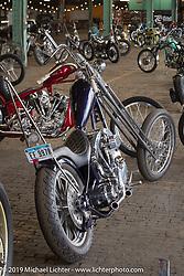 Bill Dodge's 1967 Harley-Davidson Shovelhead chopper built in his Daytona Beach Bling's Cycle shop at the Congregation Show. Charlotte, NC. USA. Saturday April 14, 2018. Photography ©2018 Michael Lichter.