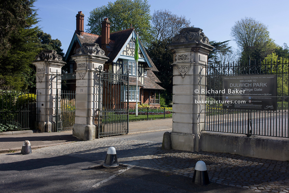 The main gates of Dulwich Park with College Lodge in the background at the (College Gate) entrance in south London.