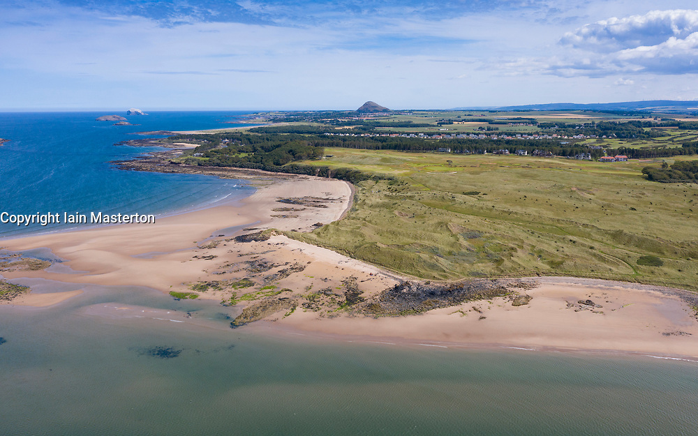 Aerial view of coastline and beaches on coast adjacent to Archerfield near Gullane  in East Lothian, Scotland, UK
