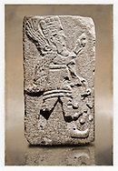 Picture & image of a Neo-Hittite orthostat with a releif sculpture of A Winged God from Aslantepe ,  Malatya, Turkey. Museum of Anatolian Civilisations, Ankara.  The God holds a branch of fruit in his left hand and a single fruit in the right hand. 5 <br /> <br /> If you prefer to buy from our ALAMY STOCK LIBRARY page at https://www.alamy.com/portfolio/paul-williams-funkystock/hittite-art-antiquities.html . Type - Aslantepe - in LOWER SEARCH WITHIN GALLERY box. Refine search by adding background colour, place, museum etc.<br /> <br /> Visit our HITTITE PHOTO COLLECTIONS for more photos to download or buy as wall art prints https://funkystock.photoshelter.com/gallery-collection/The-Hittites-Art-Artefacts-Antiquities-Historic-Sites-Pictures-Images-of/C0000NUBSMhSc3Oo