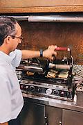 """Special grill to make  """"francesinha"""" sandwich, Restaurante Regaleira. Porto, Portugal"""