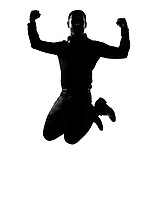 one caucasian business man jumping powerful  silhouette Full length in studio isolated on white background