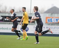 Falkirk's Blair Alston cele scoring their goal.<br /> Falkirk 1 v 1 Livingston, Scottish Championship game today at The Falkirk Stadium.<br /> © Michael Schofield.
