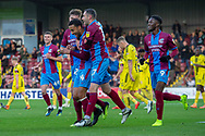 Goal Scunthorpe United celebrate as Scunthorpe United defender James Perch scores a goal to take the lead 1-0 during the The FA Cup 1st round match between Scunthorpe United and Burton Albion at Glanford Park, Scunthorpe, England on 10 November 2018.