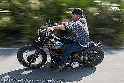 Ben Jordan of Waxhaw, NC rides his custom 1947 Harley-Davidson Knucklehead up A1A to Flagler Beach during Daytona Beach Bike Week  2015. FL, USA. Friday, March 13, 2015.  Photography ©2015 Michael Lichter.