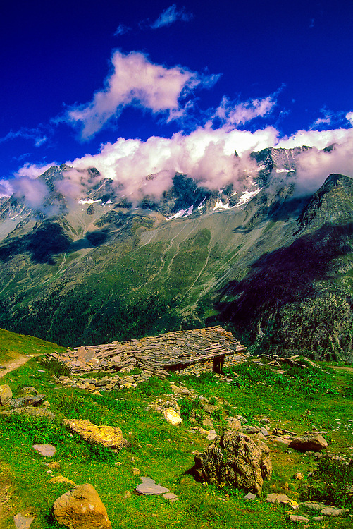 Along a hiking path on the Haute Route near the village of Arolla, Switzerland