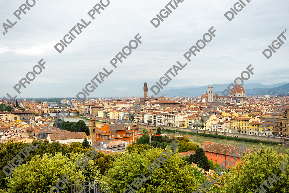 Aerial view of city of florence in tuscany region, Italy by day.